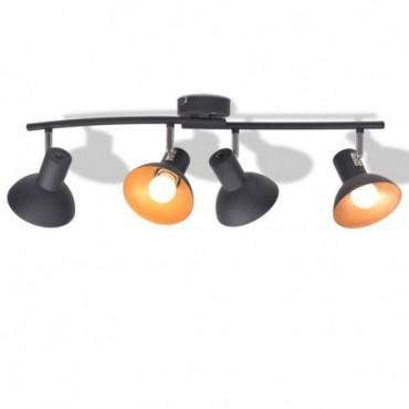 Plafonnier pour 4 ampoules E27 Noir et doré