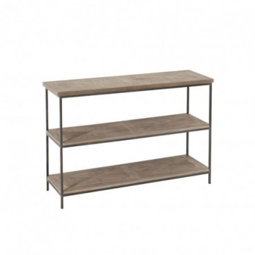 Console 3 Planches Teck/Metal Marron