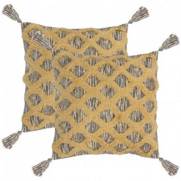 Coussin 2 pièces Bohémien Multicolore jaune 60x60cm