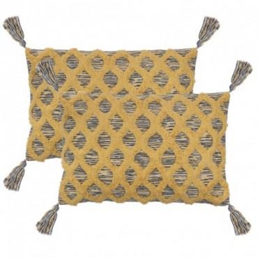 Coussin 2 pièces Bohémien Multicolore jaune 40x60cm