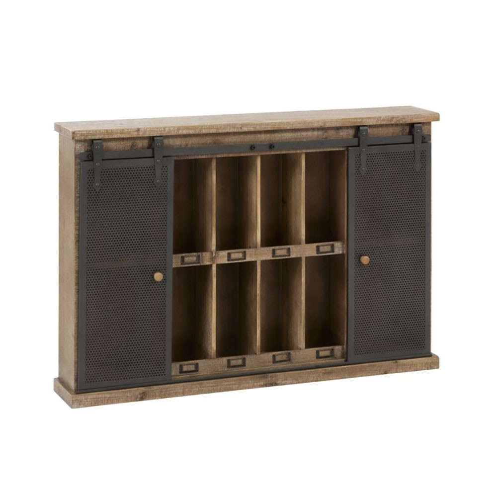 Armoire Murale 12 Compartiments Bois/Metal Naturel