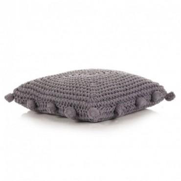 Coussin de plancher carré Coton tricoté Gris 50x50cm