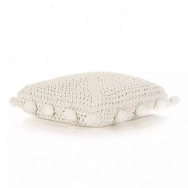 Coussin de plancher carré Coton tricoté Blanc 50x50cm
