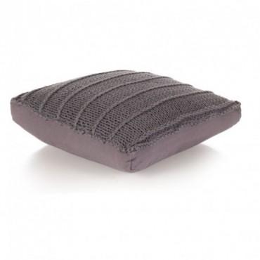 Coussin de plancher carré Coton tricoté Gris 60x60cm