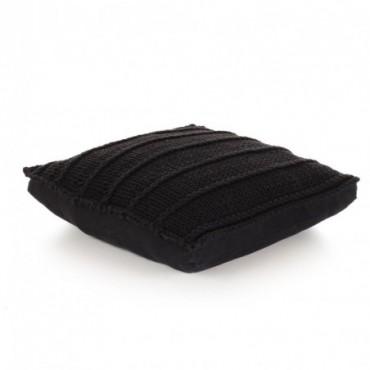Coussin de plancher carré Coton tricoté Noir 60x60cm
