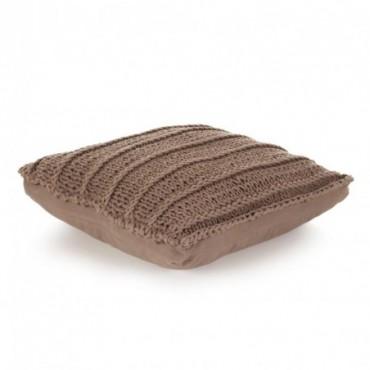 Coussin de plancher carré Coton tricoté Marron 60x60cm