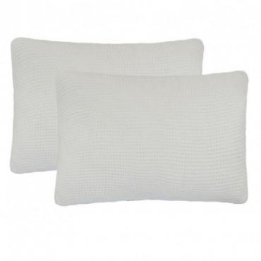 Coussin 2 pièces Coton tricoté lourd Blanc cassé 60x40cm