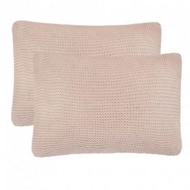 Coussin 2 pièces Coton tricoté lourd Rose 60x40cm