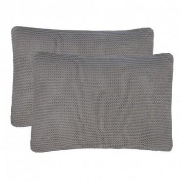 Coussin 2 pièces Coton tricoté lourd Gris foncé 60x40cm