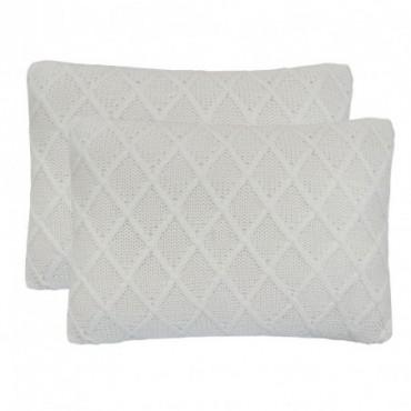 Coussin 2 pièces Coton tricoté lourd Blanc cassé  a motifs 60x40cm