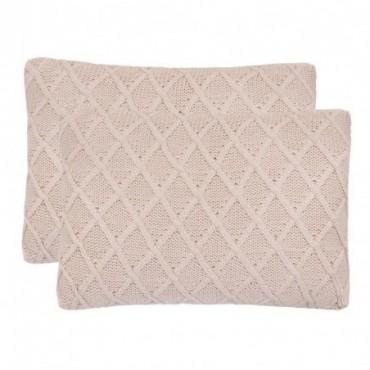 Coussin 2 pièces Coton tricoté lourd Rose a motifs  60x40cm