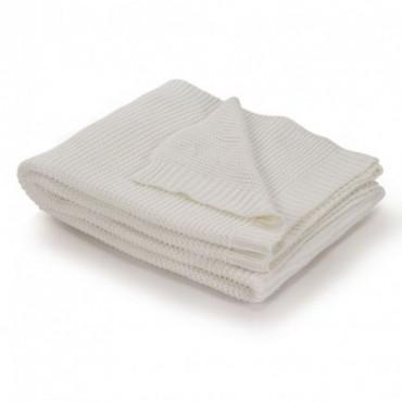 Couverture tricotée Coton Blanc cassé 130x171cm