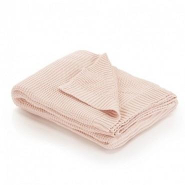 Couverture tricotée Coton Rose 130x171cm
