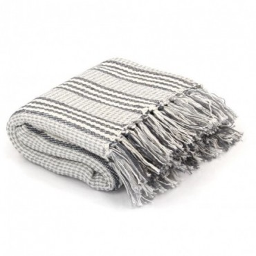 Couverture coton à rayures Gris et Blanc 160x210cm