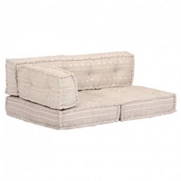 Coussin de canapé palette Beige + accoudoir Tissu Patchwork