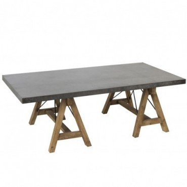 Table De Salon Rectangulaire Bois/Metal Gris/Naturel