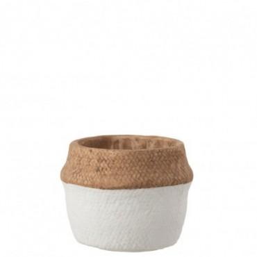 Cache-Pot Jane Ciment Naturel/Blanc Grande taille