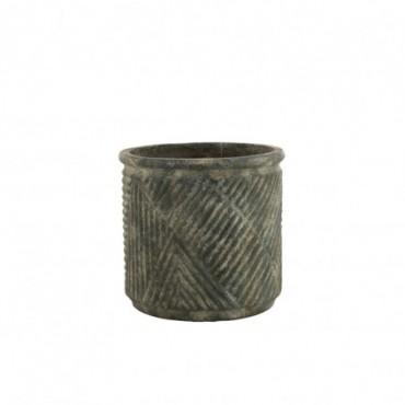 Cache-Pot Lignes Céramique Vert Foncé Grande taille