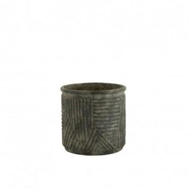 Cache-Pot Lignes Céramique Vert Foncé Petite taille