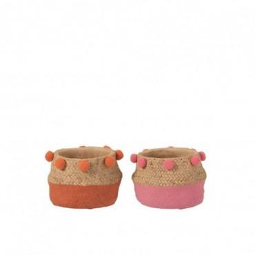 Cache-Pot Pompon Ciment Orange/Rose Petite taille Assortiment De 2