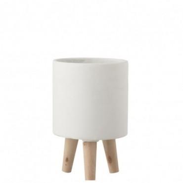 Cache-Pot Sur Pieds Ciment Blanc Petite taille