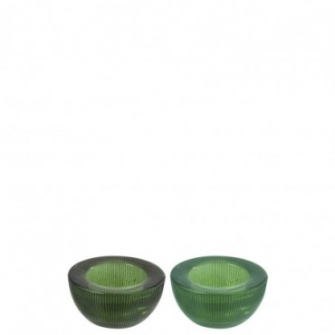 Photophore Rond Stries Verre Vert (Assortiment de 2)