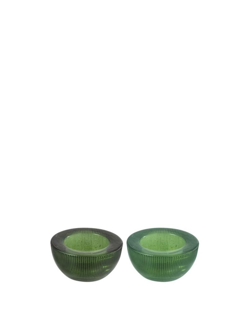 Photophore Rond Stries Verre Vert (Assortiment de 2)