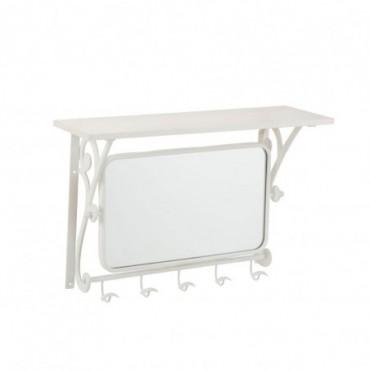 Portemanteau 5 Crochets + Miroir Metal Blanc