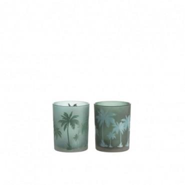 Photophore Palmier Vert/Bleu M Ass2