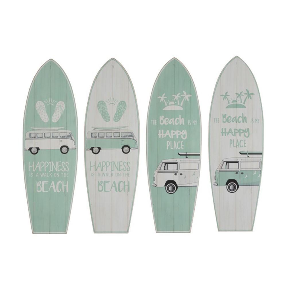 Décoration Murale Planche De Surf Minibus bois Vert Assortiment De 19 J-line