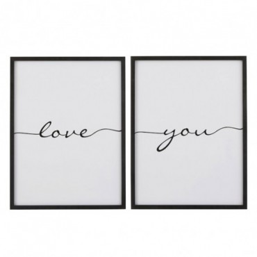 Plaque Love You Bois Noir Assortiment De 2