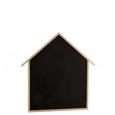 Tableau Noir Mural Maison Bois De Pin Naturel/Noir