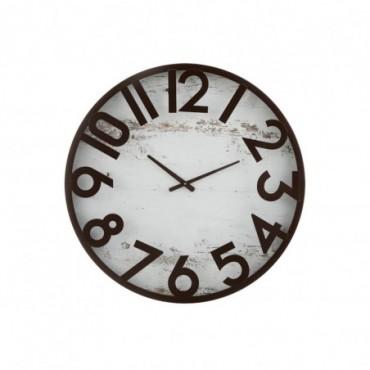 Horloge Fond Fer Marron/Blanc