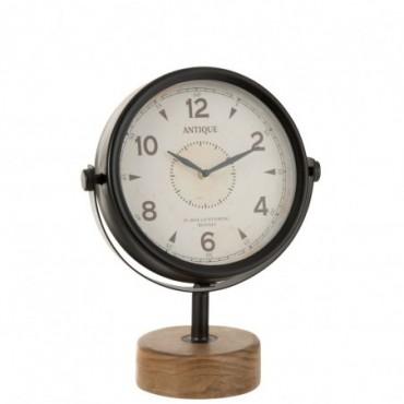 Horloge Sur Pied Metal Blanc/Bois Naturel