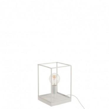 Lampe 1 Ampoule Rectangulaire Cadre Metal Blanc Petite taille