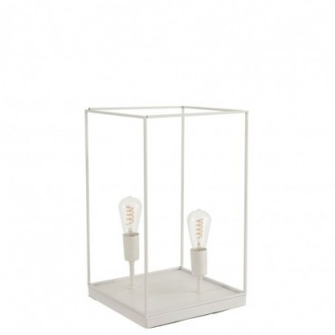 Lampe 2 Ampoules Rectangulaire Cadre Metal Blanc Grande taille