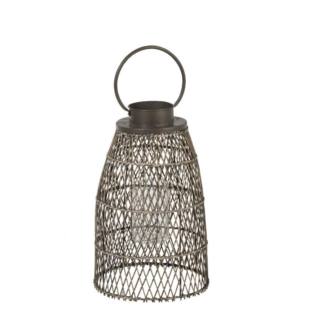 Lanterne Ronde Bambou/Verre Naturel