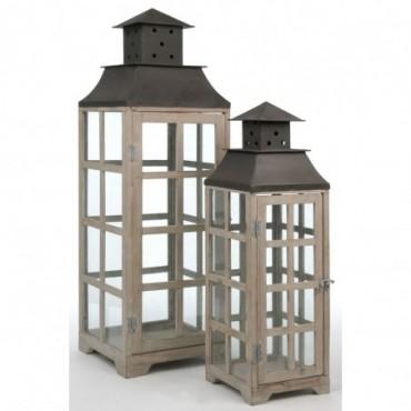Set 2 Lanternes Vitre Bois Marron
