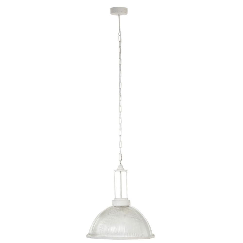 Lampe Suspendue Ronde Verre/Metal Blanc