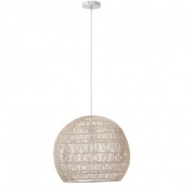 Lampe Suspendue Boule Lignes Fines Metal/Rotin Blanc