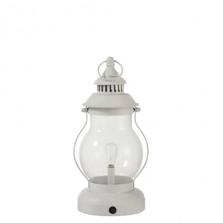 Lampe Led Lanterne Metal/Verre Blanc