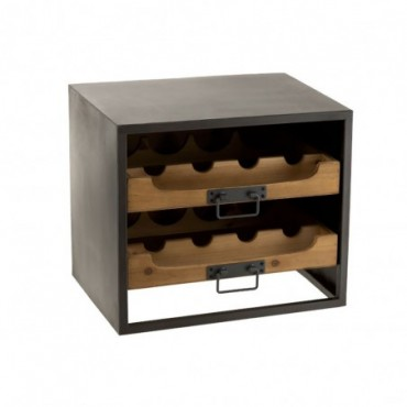 Armoire 2 Tiroirs Pour Bouteilles De Vin Metal/Bois Naturel