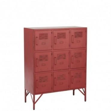 Armoire 9 Tiroirs Metal Rouge