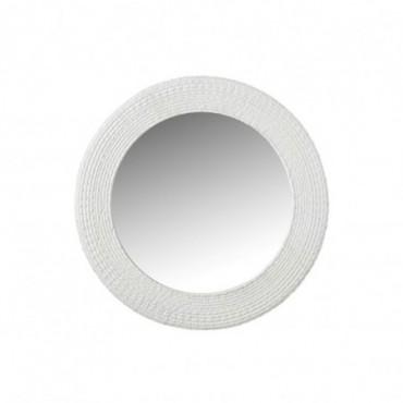 Miroir Rond Nervures Resine Blanc