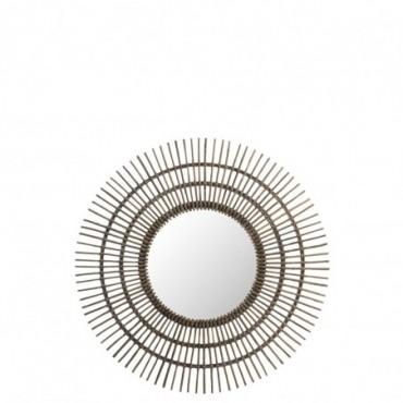 Miroir Rond Rotin Marron L