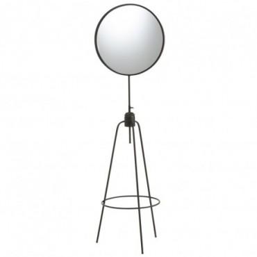 Miroir Haut Pied Rond Metal/Verre Noir