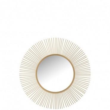 Miroir Barres Rond Metal/Verre Mat Or