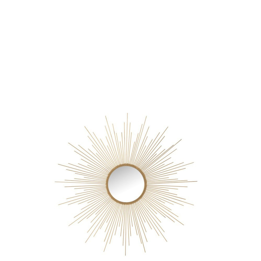 Miroir Barres Irrégulières Rond Metal/Verre Mat Or