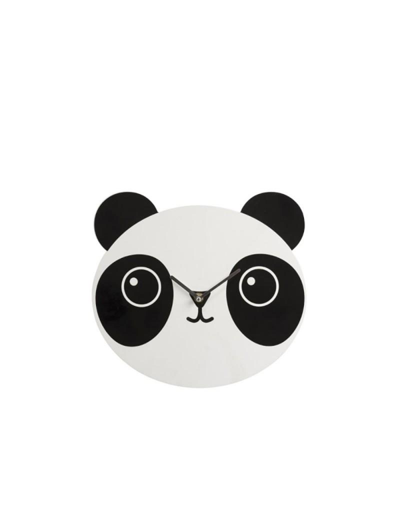 Horloge Panda Bois Blanc/Noir