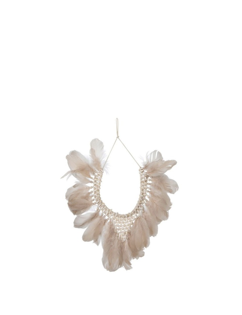 Collier 2 Plumes/Coquillages Boho Saumon